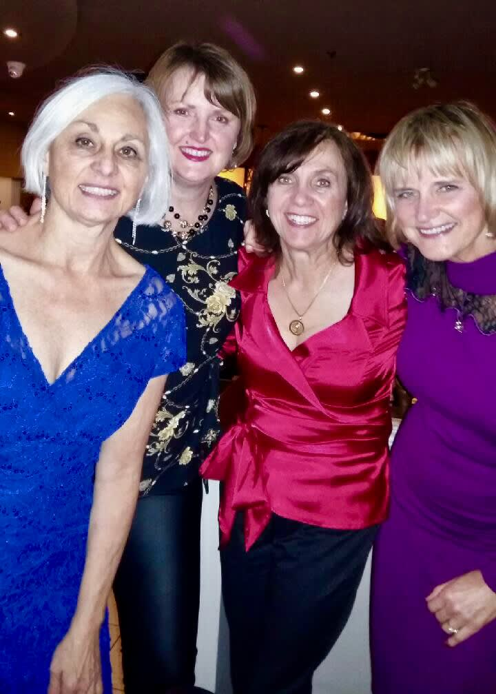 2019 Christmas party-Cathy, Lori, Dr. Fasciani, Jenny