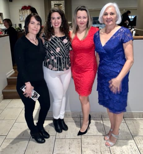2019 Christmas party-Bev, Tania, Joanna, Cathy