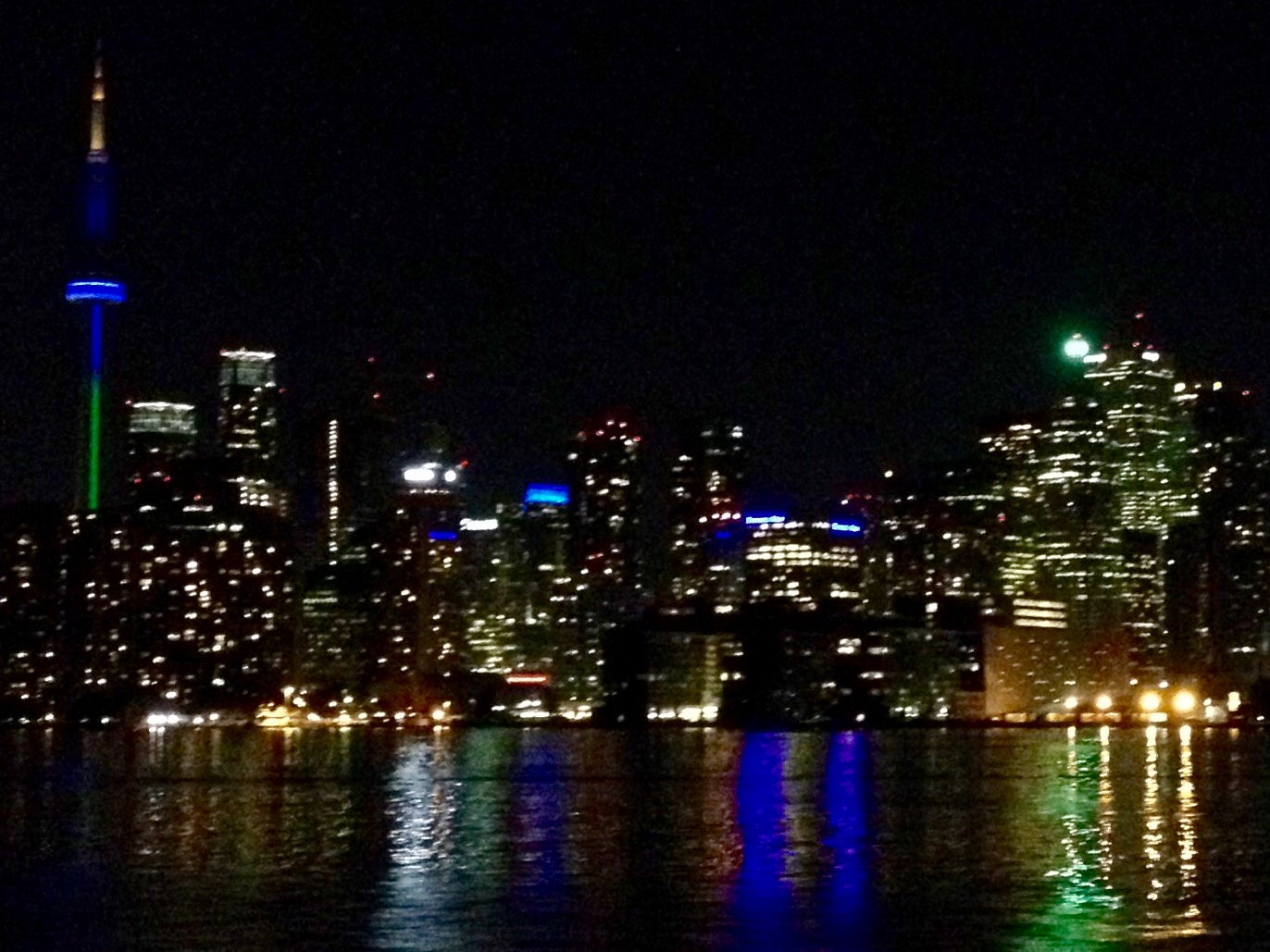 Toronto harbour view and lights at night on Halton Peel Dental Association cruise - Mississauga Dentist
