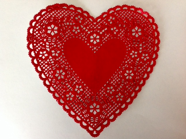 red doily heart