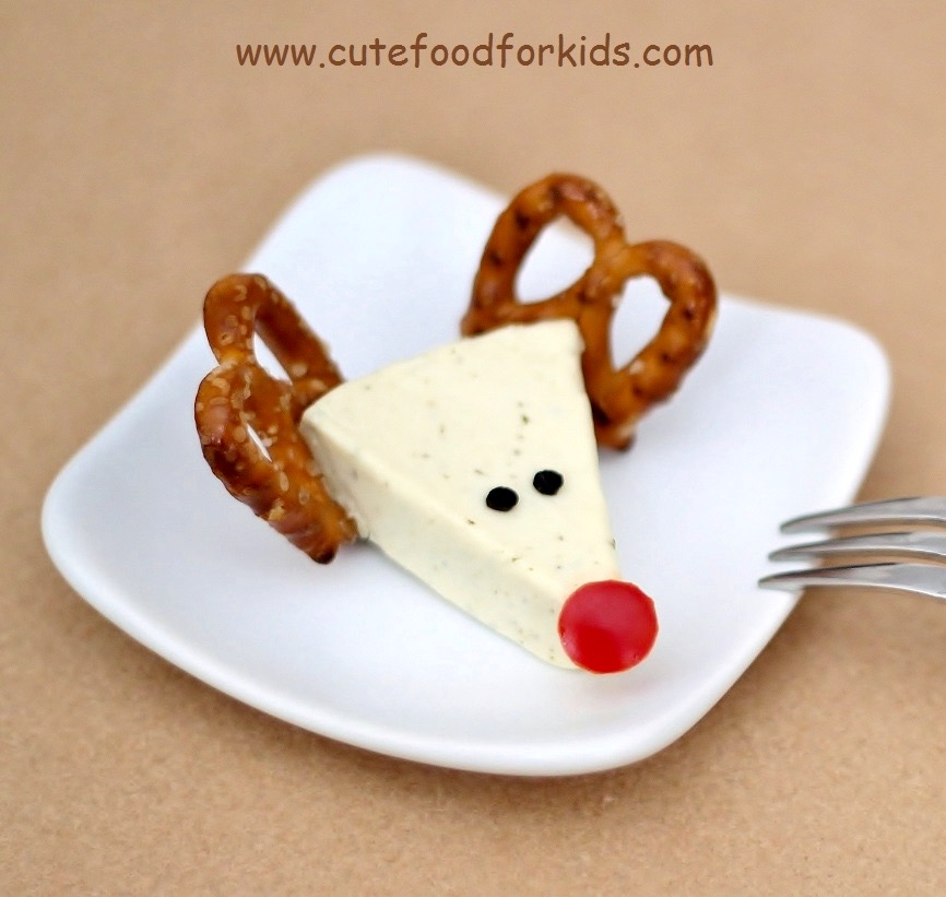 cute cheese and pretzel reindeer